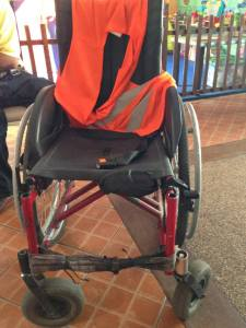 Atoy's wheelchair before the conversion
