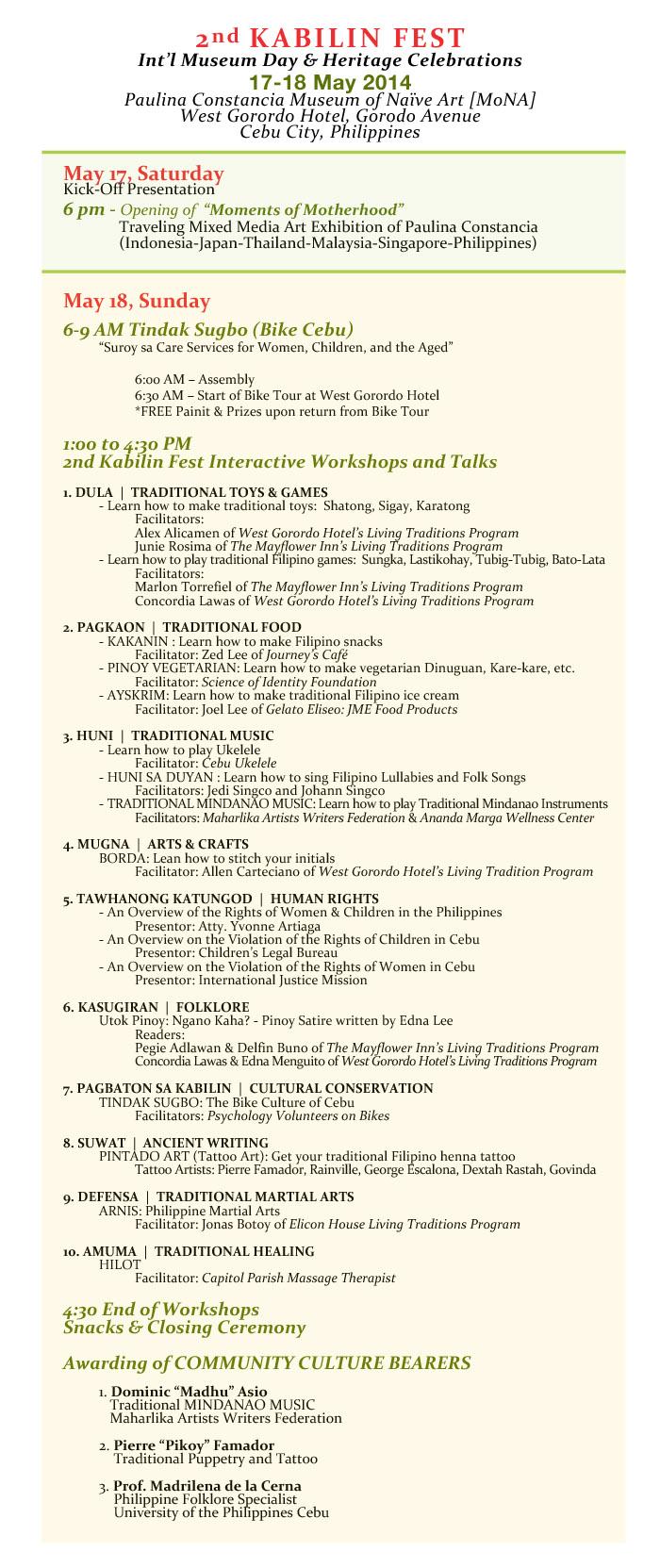 2nd KABILIN FEST Schedule of Activities